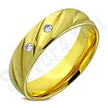 CADOURI BARBATI - Verigheta inox in culoarea aurului cu zirconii albe - LR5088