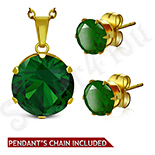 PANDANTIVE - Set lant, pandantiv si cercei inox piatra verde - LR5061