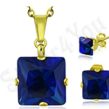 Set lant pandantiv si cercei inox auriu piatra albastra - LR5065