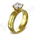 Inel inox aurit cu zirconiu alb - LR5089