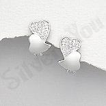 Bijuterii argint de mireasa - Cercei argint inimioare cu zirconii albe - AR167