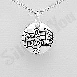 Bijuterii cu Mesaj - Pandantiv argint banut portativ muzical - AS188