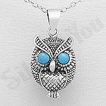 Bijuterii cu Mesaj - Pandantiv argint bufnita cu ochii turcoaz albastru - AS199