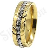 - Inel inox aurit cu zirconii albe - LR241