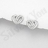 Bijuterii argint de mireasa - Cercei argint  inimioara cu zirconii albe - AR200
