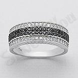 INELE ARGINT - Noutati! - Inel argint cu zirconii albe si negre - AR140