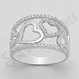 Bijuterii argint de mireasa - Inel argint cu inimi si zirconii albe - AR112