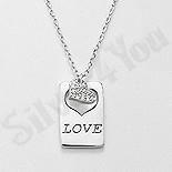 Bijuterii argint de mireasa - Colier argint cu medalion inima cu zirconii albe - AR130