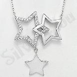 Bijuterii argint de mireasa - Colier argint cu medalion stelute si zirconii albe - AR131