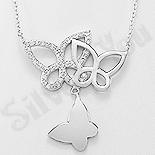 Bijuterii argint de mireasa - Colier argint cu medalion fluturi  si zirconii albe - AR132