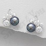 Bijuterii argint de mireasa - Cercei argint cu perla neagra si zirconii albe - AR100