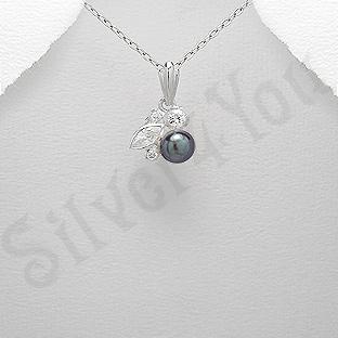 - Pandantiv argint cu perla neagra si zirconii albe - AR101