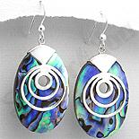 Bijuterii argint cu abalone - Cercei argint ovali abalone albastru - PK2490