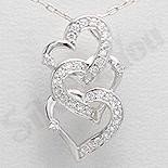 Bijuterii argint de mireasa - Pandantiv argint 3 inimi unite - AR144