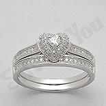 Bijuterii argint de mireasa - Set 2 inele  argint  inima cu zirconii albe - AR138