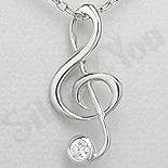 PANDANTIVE - Pandantiv argint cheie muzicala cu zirconiu alb - AR149