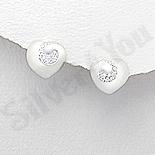 - Cercei argint inima cu zirconii albe - AR166