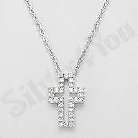 - Colier argint cruce cu zirconii albe - AR151