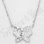 Bijuterii argint de mireasa - Colier argint fluture cu zirconii  albe - AR159