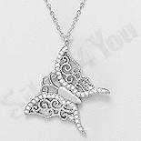 - Colier argint fluture cu zirconii  albe - AR160