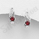 REDUCERI - Cercei argint cu zirconiu rosu - AR108