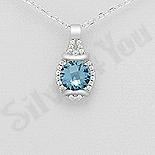 PANDANTIVE - Pandantiv argint cu zirconiu albastru - AR122