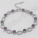 - Bratara argint cu zirconii violet si albe - AR127