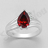INELE ARGINT - Noutati! - Inel argint logodna cu zirconii rosii si albe - AR129