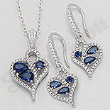 CERCEI - Set argint inima cu zirconii albastre si albi - AR174