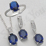 - Set argint inel, cercei si pandant cu zirconiu albastru - AR175