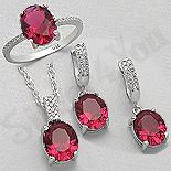 - Set argint inel, cercei si pandant cu zirconiu rosu - AR175R