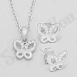 CERCEI - Set argint fluturas cu zirconii albe - AR176