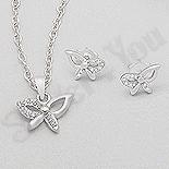 CERCEI - Set argint fluturas cu zirconii albe - AR177