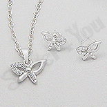 PANDANTIVE - Set argint fluturas cu zirconii albe - AR177