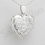 Bijuterii Argint - Pandantiv argint inimioara casetuta cu mesaj - AR314