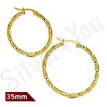 CERCEI - Cercei inox model rasucit in culoarea aurului/3.5 cm - ST103
