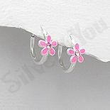 Bijuterii Copii - Cercei argint veriga cu floare roz - AR331