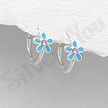 Bijuterii Copii - Cercei argint veriga cu floare bleu - AR332