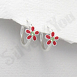 Bijuterii Copii - Cercei argint veriga cu floare rosie - AR333