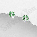 Bijuterii Copii - Cercei mici argint trifoi verde - AR334