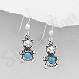 Bijuterii Copii - Cercei argint ursulet cu piatra turcoaz - AR336