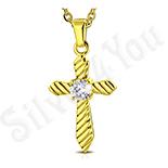 Bijuterii Inox - Cruce in culoarea aurului cu zircon alb - LR108