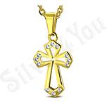 Pandantive crucifix - Pandantiv inox auriu cruce - LR110
