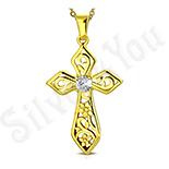 Cadouri Femei 1-8 Martie - Cruce inox aurit cu zircon alb - LR109