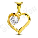 Pandantiv inox auriu inima si zircon alb - LR117