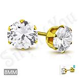Cadouri Femei 1-8 Martie - Cercei inox aurit cu zircon alb/8 mm - LR121