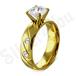 Bijuterii Inox - Inel de logodna din inox aurit - LR102