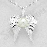 Cadouri Femei 1-8 Martie - Pandantiv argint aripi si perla - AS100