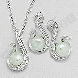 Bijuterii cu zirconii - Set argint cu zirconii albe si perla - AS101