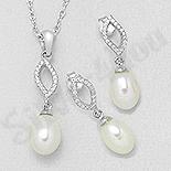 Bijuterii argint de mireasa - Set argint cu zirconii albe si perla - AS102